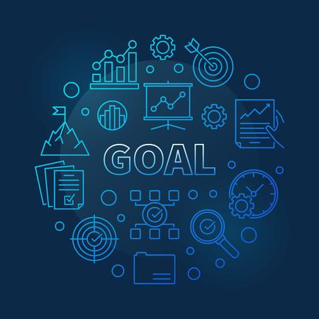 Illustration de la ligne ronde bleue d'affaires de concept de vecteur de but