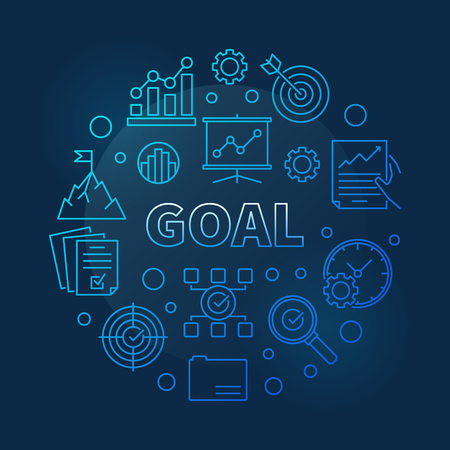 Goal vector concept business blue round line illustration Illustration