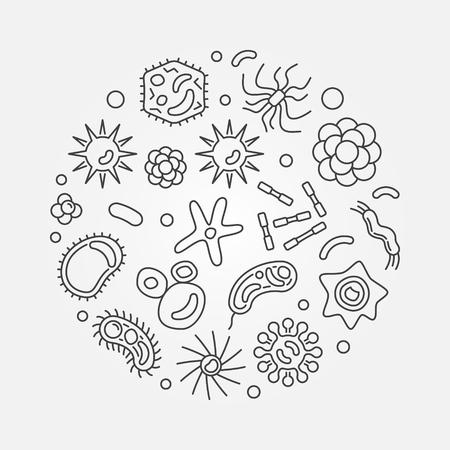 Virology round vector microbiology minimal line illustration Illustration