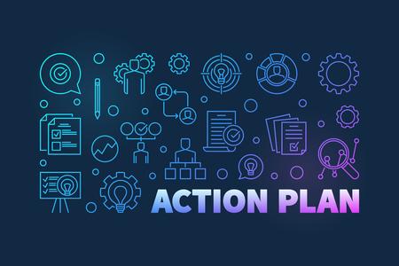 Action Plan colored outline banner. Vector illustration Vetores