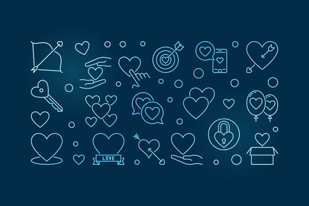 Unconditional Love vector blue outline horizontal illustration
