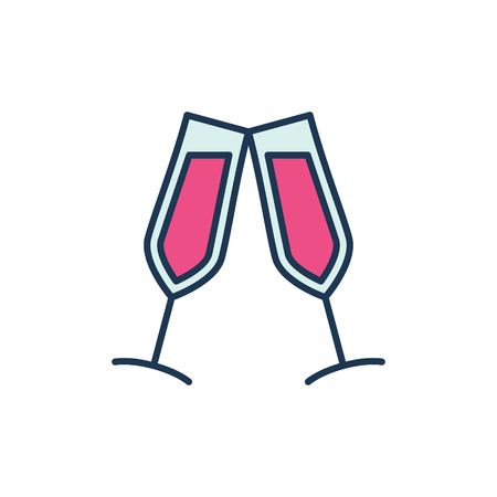 Two Glasses with Red Wine vector modern icon or sign Çizim