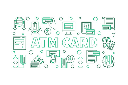 ATM Card concept modern horizontal banner in thin line style. Vector illustration on white background