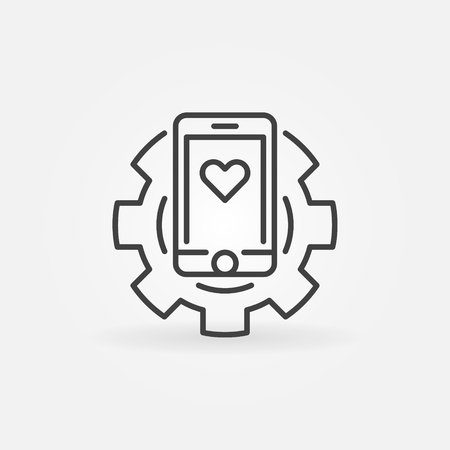 Smartphone in gear vector concept icon in thin line style