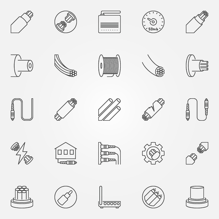 Optical fiber outline icons set. Vector fiber optic cable symbols