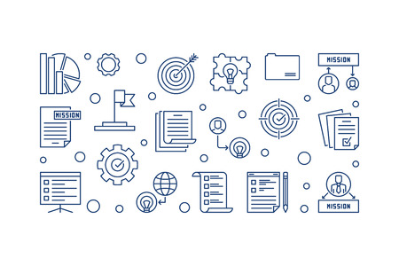 Company Vision horizontal vector illustration in outline style