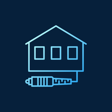 Vector House with Fiber Optic Cable blue outline icon