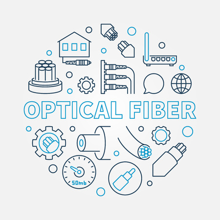 Optical Fiber vector round creative linear illustration