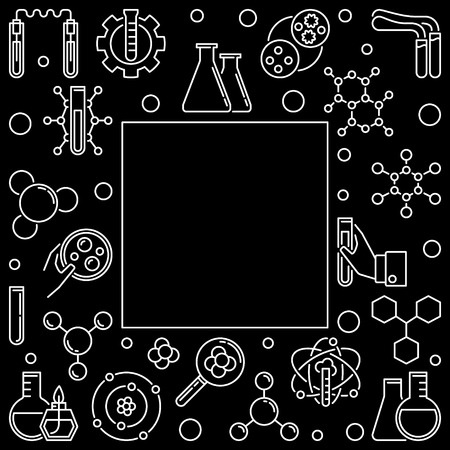 White square frame with white Chemistry outline icons. Vector Chemical illustration in thin line style on dark background