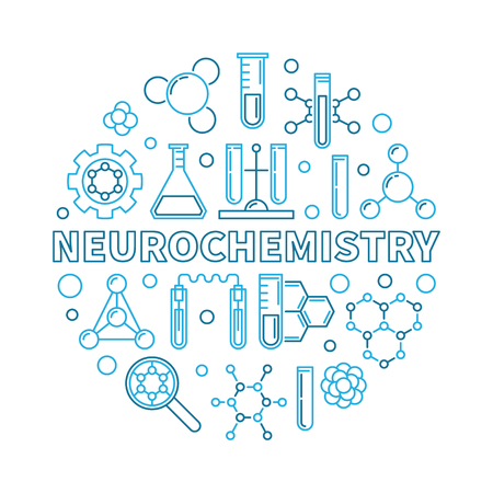 Neurochemistry vector concept round blue illustration in thin line style