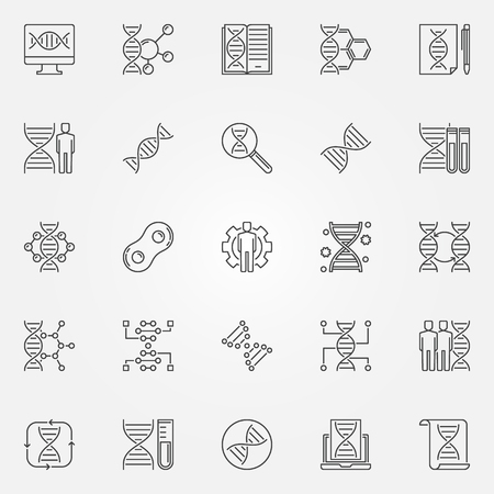 Genetics outline icons set. Vector Genetic Engineering signs