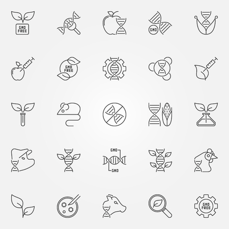 Gmo outline icons set - vector genetic engineering and DNA concept symbols in thin line style