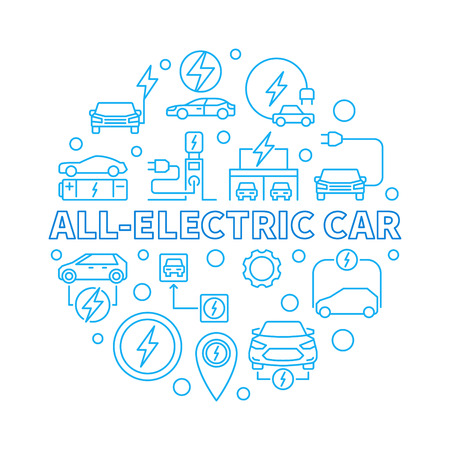 All-electric Car round vector concept illustration in outline style