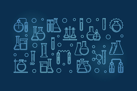 Laboratory equipment outline blue modern banner. Vector chemical glassware concept linear illustration on dark background Çizim