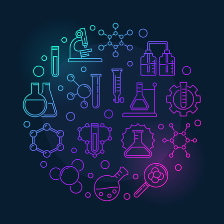 Chemistry vector colorful modern round illustration in thin line style on dark background