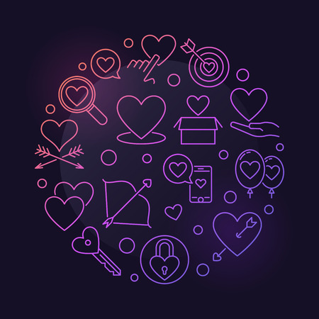 Unconditional Love vector round colored outline illustration