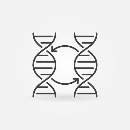 Two DNA vector concept icon or symbol in thin line style
