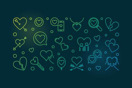 Lovesickness vector colored outline illustration or banner
