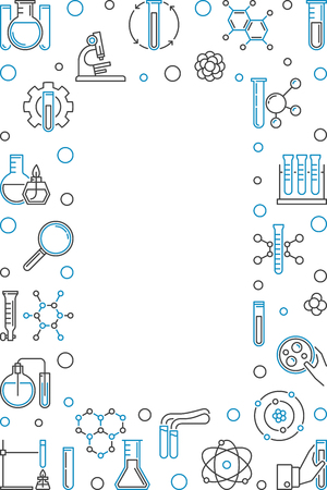 Vertical frame with Chemistry outline icons. Vector modern illustration. Chemical Background in thin line style