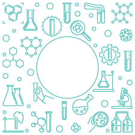 Chemical outline vector illustration with round frame on white background