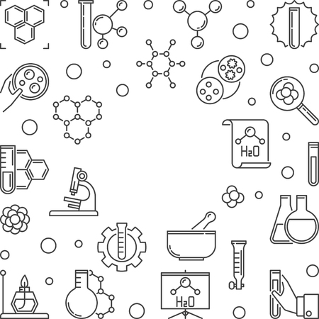 Chemistry Science minimal frame with empty space for text. Vector square illustration made with chemical outline icons