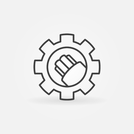 Fiber optic cable in gear vector icon in outline style