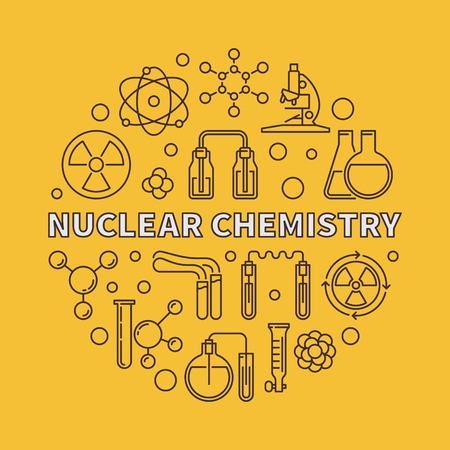 Nuclear Chemistry vector concept round illustration in thin line style on yellow background Ilustrace