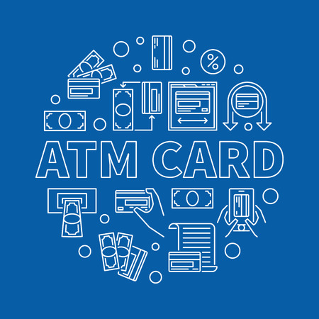 ATM Card vector concept round linear illustration on blue background