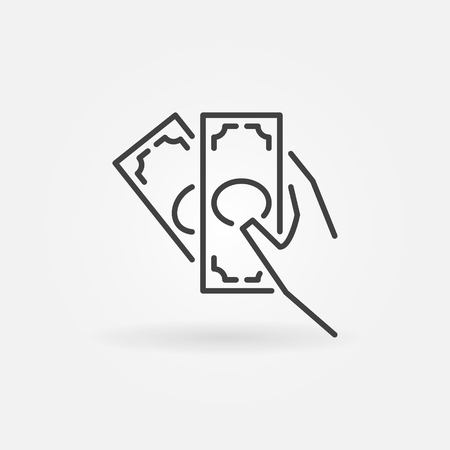 Cash in hand vector outline icon. Banknotes in hand sign