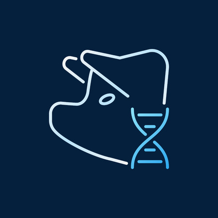 Pig with DNA vector colored line icon. Pork DNA linear sign