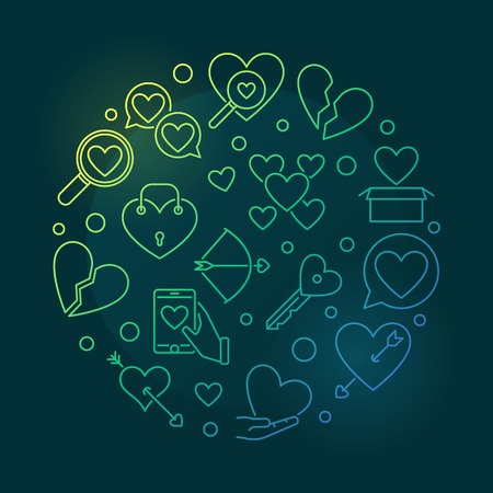 Broken love vector round colored outline illustration Illustration