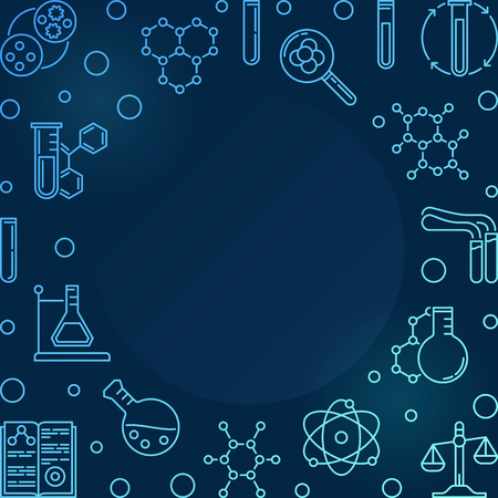 Blue square illustration with Chemistry linear icons - vector Chemical frame in outline style on dark background