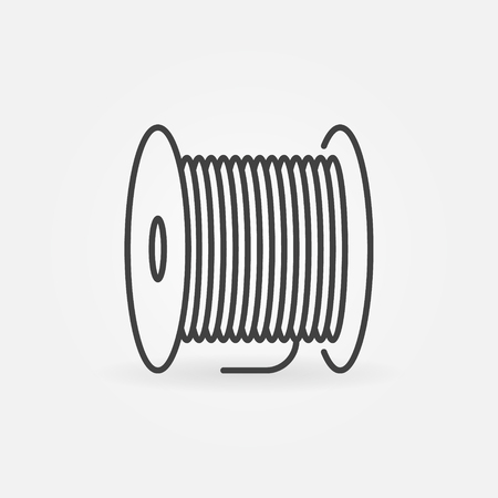 Fiber optic cable bobbin vector concept icon in thin line style