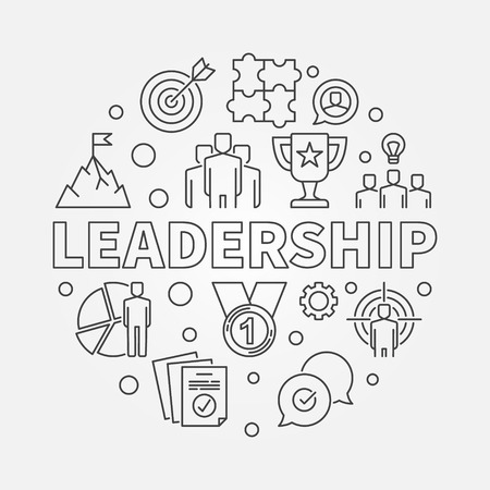 Leadership vector circular concept simple illustration in outline style Illustration
