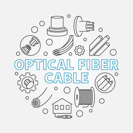 Optical Fiber Cable circular vector outline concept illustration