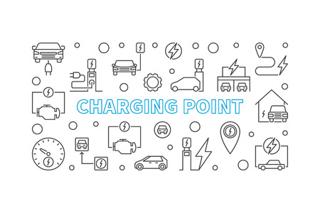 Charging point illustration. Vector EV charge point banner Vectores