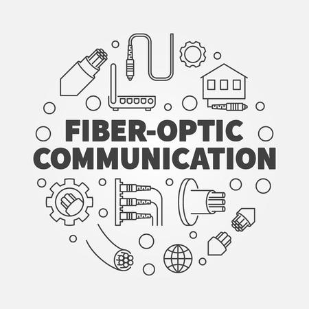 Fiber-optic Communication round vector outline illustration