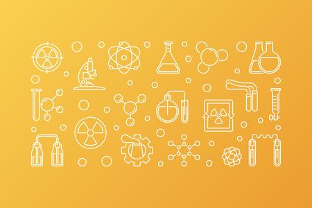 Concepto de vector de química nuclear esquema banner horizontal o ilustración sobre fondo amarillo Ilustración de vector