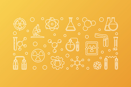 Nuclear Chemistry vector concept outline horizontal banner or illustration on yellow background Reklamní fotografie - 124320357