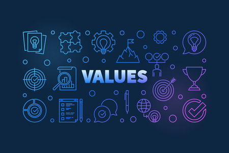 Values vector colored illustration or banner in thin line style on dark background
