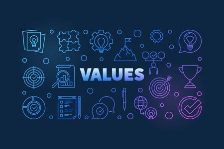 Valores vector ilustración coloreada o banner en estilo de línea fina sobre fondo oscuro Ilustración de vector