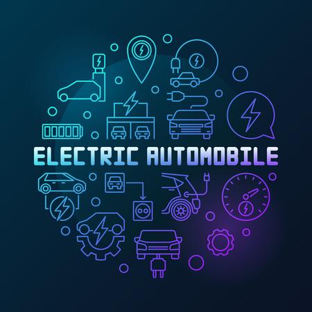 Elektrische auto ronde kleurrijke schets vectorillustratie Vector Illustratie