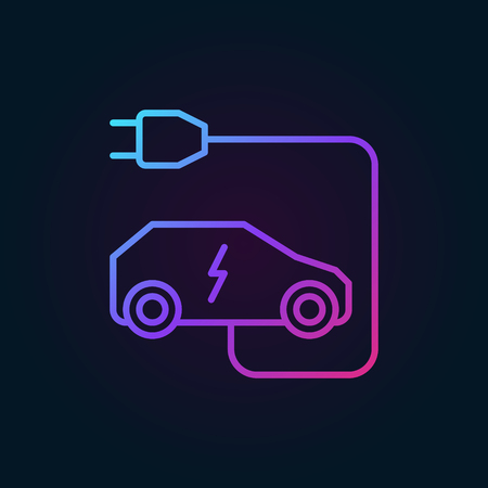 Electric car with plug vector colored linear icon