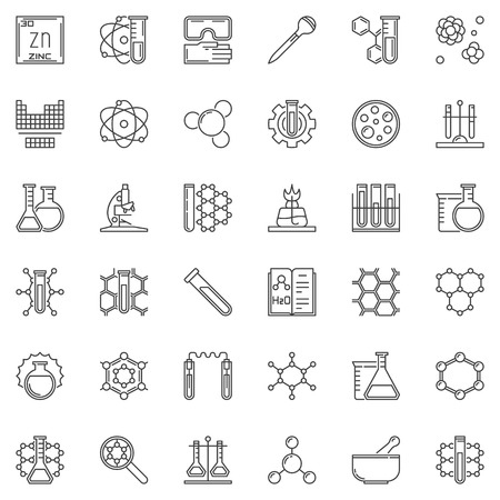 Science and Chemistry vector concept outline icons