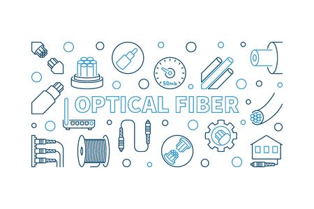 Optical Fiber outline horizontal banner. Vector illustration