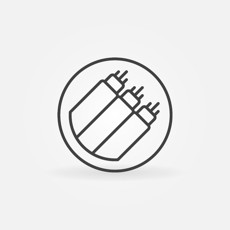 Fiber optic in circle vector concept icon in thin line style Imagens - 119326678