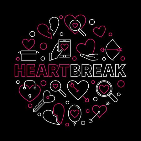 Heartbreak vector round creative illustration in thin line style