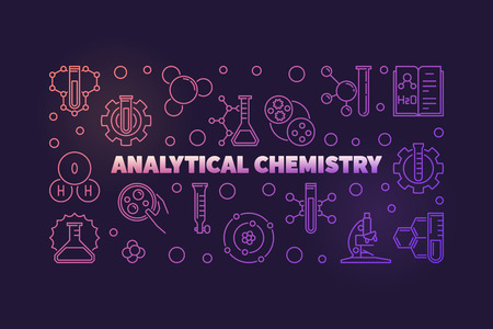 Analytical Chemistry colored vector outline illustration