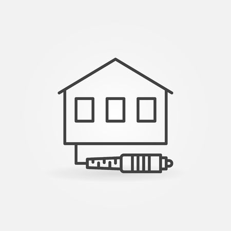 House with Optic Cable vector icon in thin line style