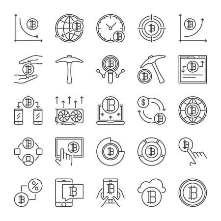 Cryptocurrency and Blockchain vector outline icons set